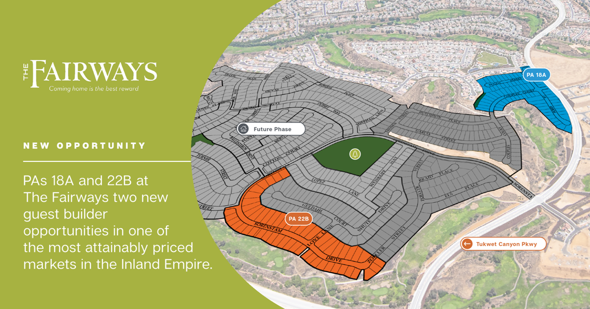 New Opportunity | PAs 18A and 22B at The Fairways two new guest builder opportunities in one of the most attainably priced markets in the Inland Empire., Province West