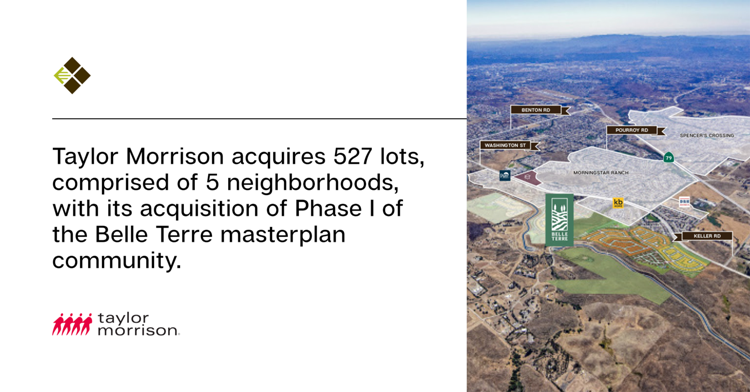 Closed Escrow   Taylor Morrison acquires 527 lots, comprised of five neighborhoods, with its acquisition of Phase I of the Belle Terre masterplan community.